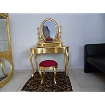 tolette (estilo barroco con puf rojo cardenal–tolette Classic de Camera de cama dorado foglia-tolette dorado