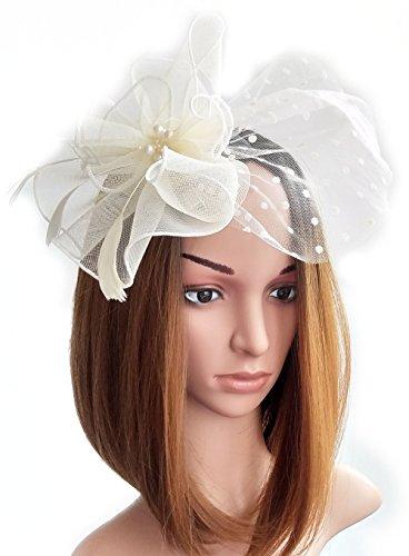 Womens Fascinators Hut Haarclip Feder Perlen Dot Schleier für Cocktail Headwear Party (Mini Rosa Weißer Hut Mit Schleier)
