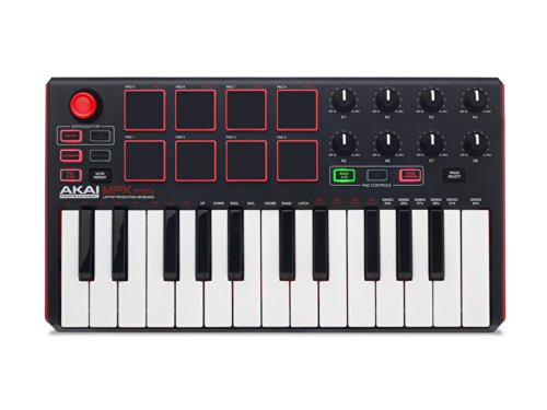 AKAI Professional MPK Mini MKII 25-Key Portable USB MIDI Keyboard with 16 Backlit Performance-Ready Pads, 8-Assignable Q-Link Knobs plus VIP 3.0 and Software Package Included, Standard