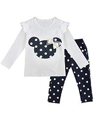 iEFiEL Conjuntos de Top y Pantalones Largas para Niñas y Bébes Camiseta de Manga Larga + Leggings