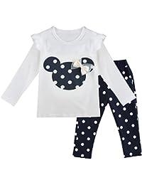 IEFIEL Conjuntos de Top y Pantalones Largas Camiseta de Manga Larga + Leggings para Niña Bebé Camisa Cómodo de Algodón Ropa de Dormir