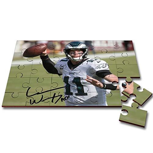 Star Prints UK Carson Wentz - Philadelphia Eagles - NFL 1 Wooden 30 Piece Jigsaw Autograph Print with Presentation Gift Box