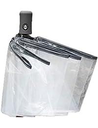 Monllack Compacto Completamente automático Paraguas Plegable de Tres Claro Prueba de Viento Paraguas Hombres Mujeres 8