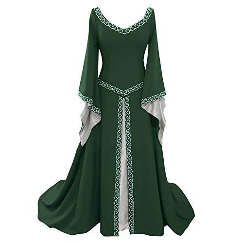 iYmitz Damen Langarm Kleid V-Ausschnitt Mittelalterlich KleiderBodenlang Cosplay Elegante Kleid mit Warmer Stola Kostüm ...(Grün,EU-38/CN-L)