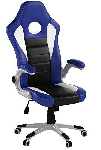 TRESKO® Silla de oficina Racing Gaming giratoria, escritorio ordenador, 4 colores diferentes, reposabrazos acolchados y regulables, mecanismo de inclinación basculante...