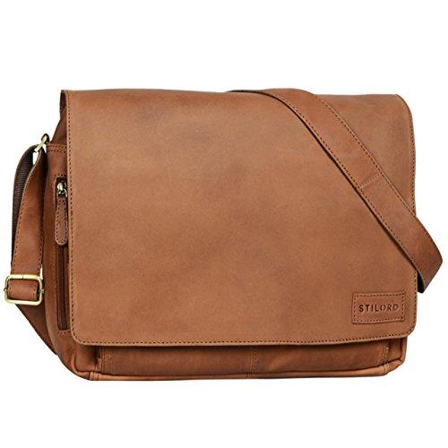 Damen Handtasche Sattel (STILORD 'Rick' Schultertasche Leder für 15,6 Zoll Laptop Umhängetasche Aktentasche Bürotasche Unitasche Büffel-Leder , Farbe:sattel - braun)