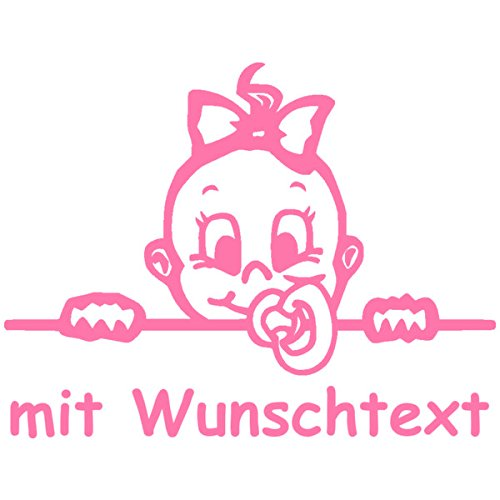 Babyaufkleber mit Name/Wunschtext - Motiv 709 (16 cm) - 20 Farben und 11 Schriftarten wählbar