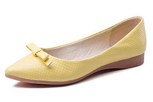 AgooLar Femme Tire Pu Cuir Pointu Non Talon Couleur Unie Chaussures à Plat Jaune