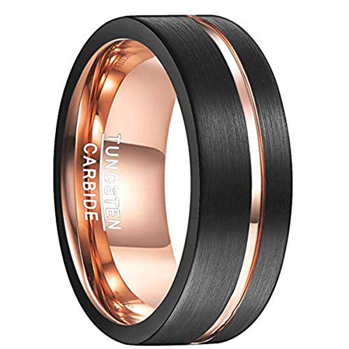 Ring für Hochzeit 8mm breit schwarz/rosegold, Nuncad Wolfram Ring Unisex mit rosegoldenem Einschnitt in der Oberfläche, Größe 59