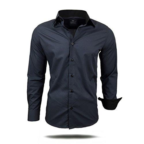 Herren Hemd Hemden Business Hochzeit Freizeit Slim Fit Bügelleicht S M L XL XXL, Größe:M;Farbe:Anthrazit