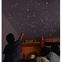 Encambio Alcrea Kit de 539 Estrellas Fluorescentes + Plantilla de 2 m². REPRODUCCIÓN EXACTA del Cielo con 2 MAPAS del Cielo con indicaciones. para 2 techos o Paredes