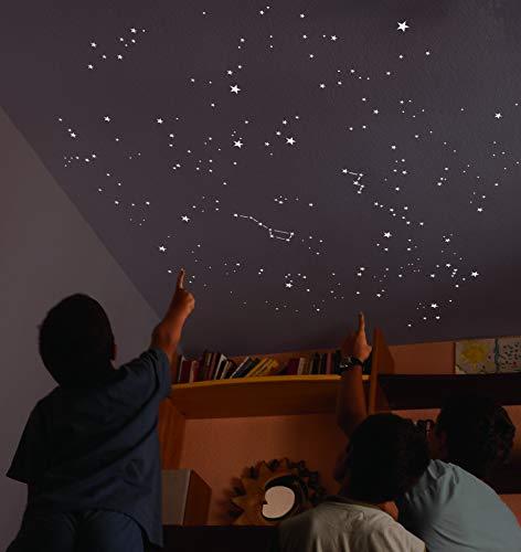 Encambio Alcrea Kit aus 270 Fluoreszierende Sternen + Schablone von mehr als 2 m² für GENAUE REPRODUKTION des NACHTHIMMELS + eine Karte mit Anzeigen. Für eine Decke oder Wand