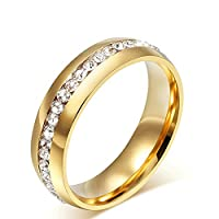 Onefeart Women Titanium Steel Ring Men Wedding Band,White Cubic Zirconia Crystal Size P 1/2 Girl Boy Gold