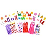 Urban Glitz 40 Pieces Doll Accessories and 6 Pieces Multicolour Doll Dress Combo Pack Suitable for Standard Sized Dolls