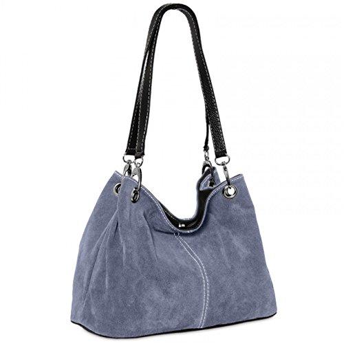 CASPAR TL621 klassische Damen Wildleder Handtasche, Farbe:jeans blau (Baguette Leder Handtasche)