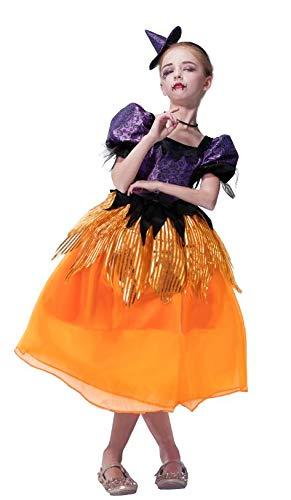 IKALI Halloween Hexe Kostüm für Mädchen, Zauberin Verkleidung Outfits Magic Princess Rollenspiel 3PCS Für 4-6 - Kleinkind Kleine Hexe Kostüm