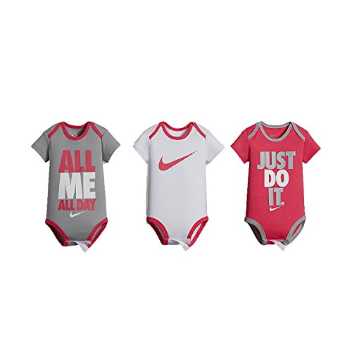Nike Swoosh Three-Piece Infant Baby Bodysuit Set (0-6 Months, Hyper Pink (0816) /Grey/White/Hyper Pink)