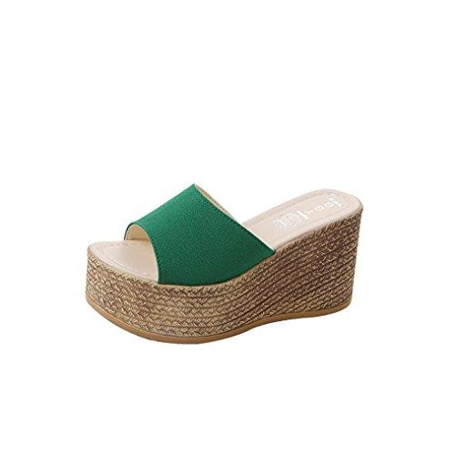 Liuchehd pantofole donna estive elegant tacco medio sandali gioiello sandali scarpe romane infradito morbida pelle con punta aperta e plateau scarpe piattaforma (verde, 40)