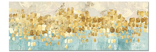 Maison Artwork Große Moderne Gold Abstrakte Leinwand Wandkunst Türkis Drucke auf Leinwand Wanddekoration Leinwanddrucke Malerei Für Wohnzimmer Kein Rahmen (60x180cm, MS006)