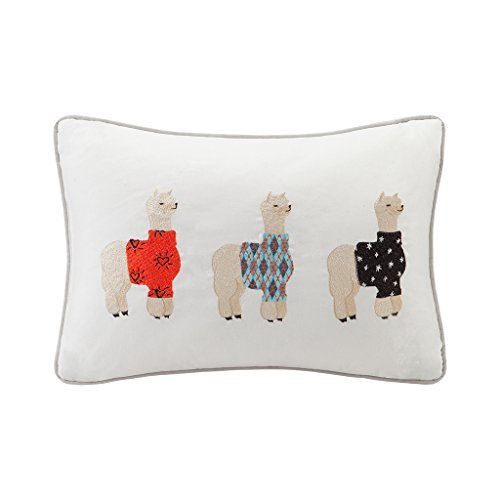 HipStyle HPS30 0023 Sweater Weather Alpaca Embroidered Cotton Oblong Pillow 14x20 Grey14x20 By