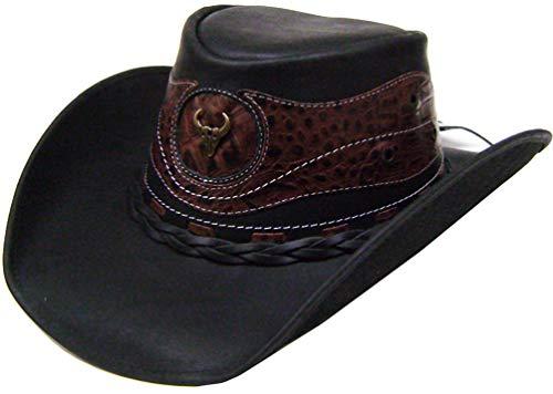 Modestone Unisex Leather Chapeaux Cowboy Crocodile Skin Pattern Applique Black