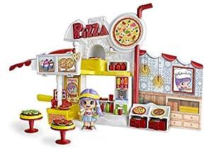 Pinypon - Pizzería, escenario de juego, con 1 figurita de Pinypon, para niños y niñas de 4 a 8 años (Famosa 700014755)