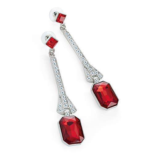 Rhodium Colour Crystal And Red Glass Bead Drop Earring - Amber Glass Drop