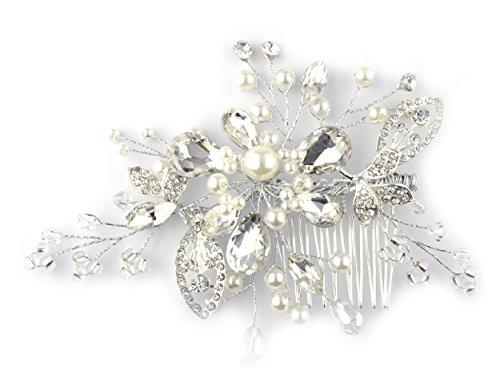 Peigne à cheveux à motif de feuille et de fleur, avec pierres de Strass et fausses perles