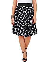 BLACK & WHITE CHECK PRINT SKIRT