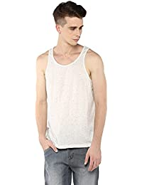 Atorse Mens Navy And Beige Spot Off White Cotton Casual Sando