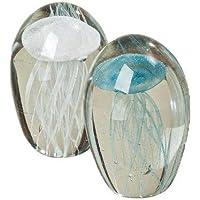 Lote de 2 Pisapapeles de Cristal Objeto Decorativo Medusas Surtido Altura 10 cm Cristal de Colores Blanco/Azul