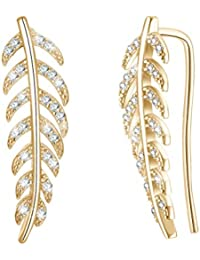 FENICAL Diamond Ear Crawler Zircon Leaf Earrings 925 Sterling Ear Crawler Studs Cuff