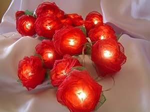 LED-Lichterkette in Rosenform, batteriebetrieben, mit 20 Lichtern, Rot