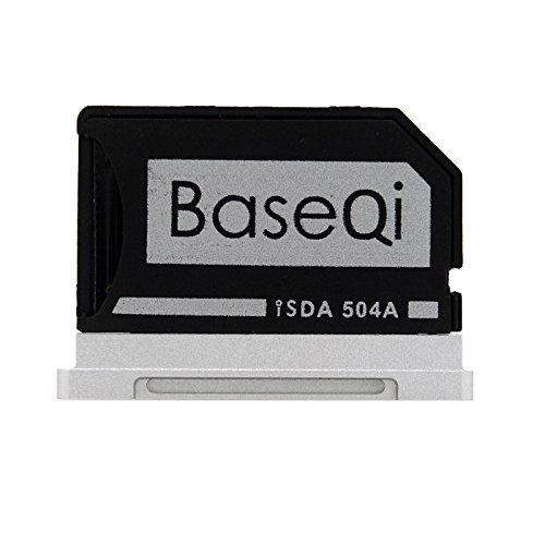 """BaseQi Adaptateur Micro SD - Aluminium Argent Edge pour MacBook Pro 15"""" Retina"""