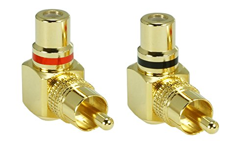 SunshineTronic Premium Cinch Winkel-Adapter | Cinch-Stecker auf Cinch-Kupplung (Cinchadapter 2 Stück) (Y-adapter Cinch)