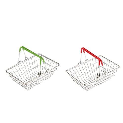 Homyl 2pcs Mini Supermarkt Warenkorb Einkaufskorb Korb Spielzeug aus Metall für Kinder Kaufläden Rollenspiel -