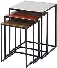 kare design Tavolino Vintage Quadrato Soffitta, Multicolore, 52 x 41 x 41 cm