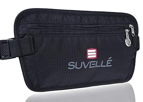 Suvelle RFID-Blocking Travel Money Belt, Waist Stash Passport Holder Bag, Anti-Theft Hidden Travel Pouch