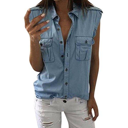 Petalum Damen Jeanshemd Weste mit Knöpfen Loose Casual Ärmellos Shirt Denim Hemd Bluse Fitness Oberteile Tunika Blau Top Sommer