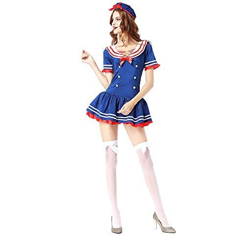 YCWY Dunkelblaues Kostüm für Damen, Kostüm für Erwachsene Retro Kurzarm Nautische Puppe Kostüm für Junggesellinnenabschied 2 Anzüge