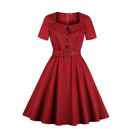 EUZeo Damen Button Vintage 50er Jahre Rockabilly Abend Prom Swing Dress Retro Rockabilly Kleid Elegante Kleider Gürtel Übergröße Abschlussball Damenkleider