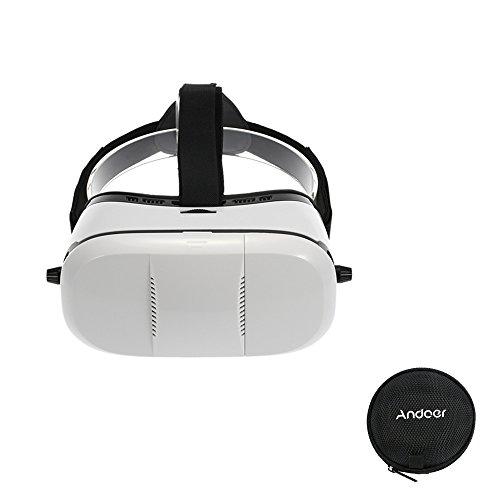"""Andoer® 3D VR Gafas Realidad Virtual Montado en Cabeza Headset 2.0 Gafas de Video Película Juegos con Cinta de Cabeza para Todos los Móviles Inteligentes de 4.0 ~ 6.0""""+Andoer Caja de Auriculares"""
