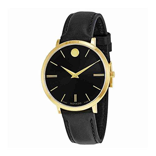 Movado Ultra Slim Negro Sunray Dial Damas Reloj 0607091