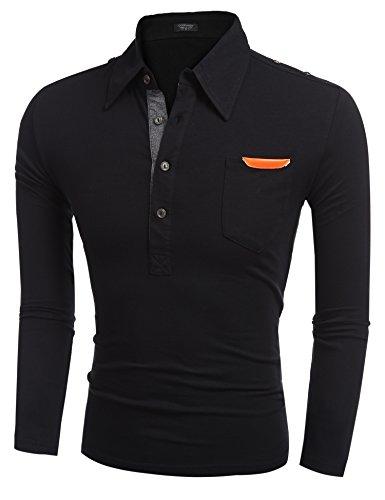 Burlady Poloshirt Tshirt Herren Polohemd Langarmshirt Sweatshirt Sport Langarm Shirts Freizeit Polokragen Männer Viele Stile F-Schwarz