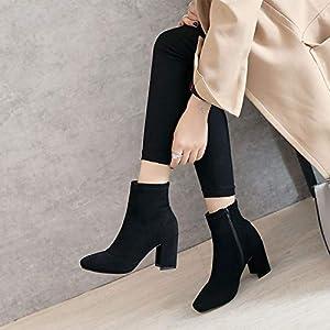 Top Shishang Herbst und Winter Frauen Kopf dicken hochhackigen Stretch Vintage Matt Martin Stiefel Chelsea Stiefel und Stiefeletten westlichen Stiefeletten