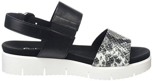 Gabor Throne Sandali da Donna Nero (Black Leather/Black-White Snake Leather)