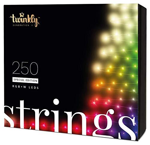 Twinkly Smart Lichterkette LED Weihnachtsbeleuchtung Spezialausgabe - App-Gesteuerte Büschellichter mit 250 RGB+W Lichtern - IoT-Fähige Beleuchtung - Erstellen oder Herunterladen von Lichtanzeigen