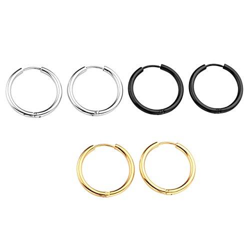 Zysta 3 coppie set 18ga orecchini unisex in acciaio inossidabile piercing a cerchio per orecchio trago labbra naso cartilagine helix,argento+dorato+nero,interno diametro 18mm