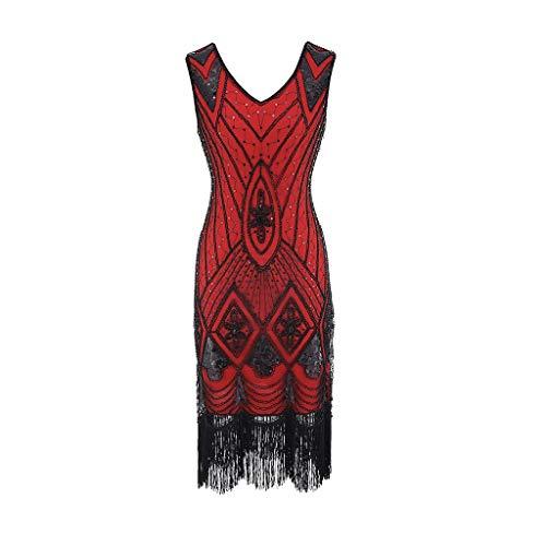 (iYmitz Damen Vintage Jahrgang 1920 Perlen Fransen Pailletten verziert Perlen Franse Inspired Flapper Gatsby Kleid(Rot,EU-36/CN-L))