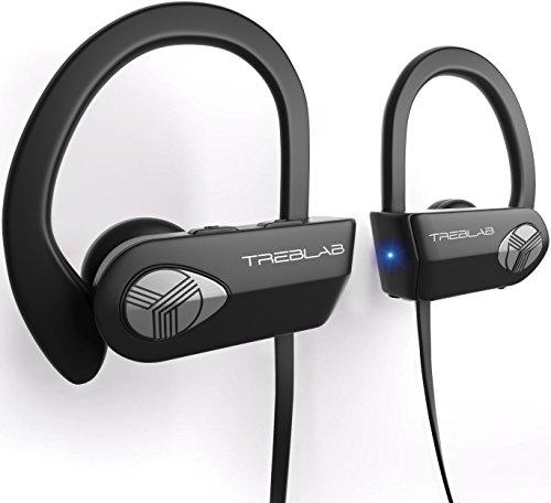 TREBLAB XR500 Auriculares con Bluetooth. Los Mejores Auriculares inalámbricos para Hacer Deporte IPX7 Impermeable, y a Prueba de Sudor. Audífonos con micrófono, Sistema de cancelación de Ruido